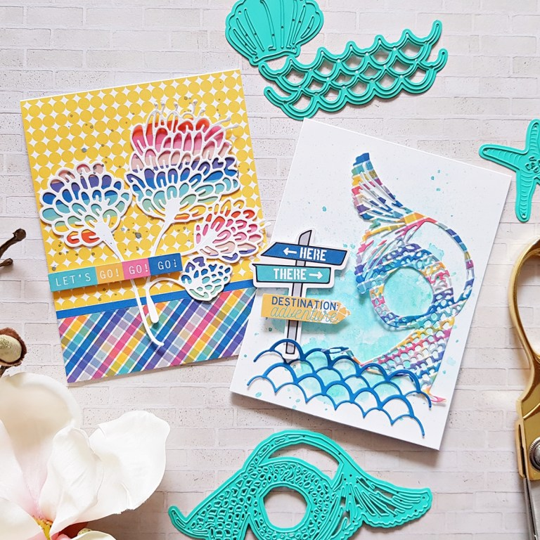Spellbinders Jane Davenport Artomology | Colorful Mixed Media Cards with Zsoka Marko featuring JDD-003 Sea Flower, JDD-031 Mertail, JDD-033 Mermaid for Each Other, JD-031 Deep Sea Die Cutting and Embossing Machine #janedavenport #janedavenportartomology #Artomology #spellbinders #neverstopmaking #makeitwithmichaels #washisheets #dies #diecut #diecutting #diecutmachine #deepseadiecutmachine