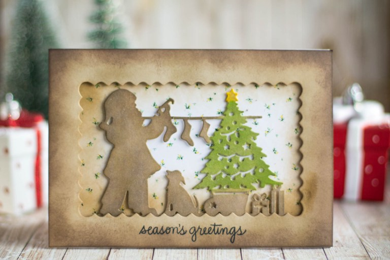 Spellbinders A Sweet Christmas Collection by Sharyn Sowell - Inspiration   Santa & Presents Card with Elena Salo featuring SDS-159 Recipe Card Set, S4-937 Hanging Stockings #spellbinders #neverstopmaking #sharynsowell