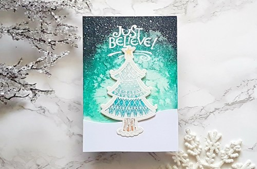 Spellbinders Zenspired Holidays Collection by Joanne Fink - Inspiration | Just Believe Card with Alexandra Suta featuring SDS-161 Christmas Joy, SBS-165 Christmas Sentiments #spellbinders #neverstopmaking