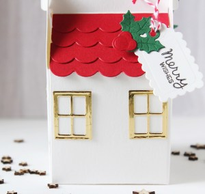 Spellbinders A Charming Christmas Collection by Becca Feeken - Inspiration   Cottage Houses with Hussena featuring S4-960 Cinch and Go Poinsettia, S5-384 Charming Tag Pocket, S6-163 Cottage Box, SDS-164 Sentimental Christmas #spellbinders #neverstopmaking #diecutting
