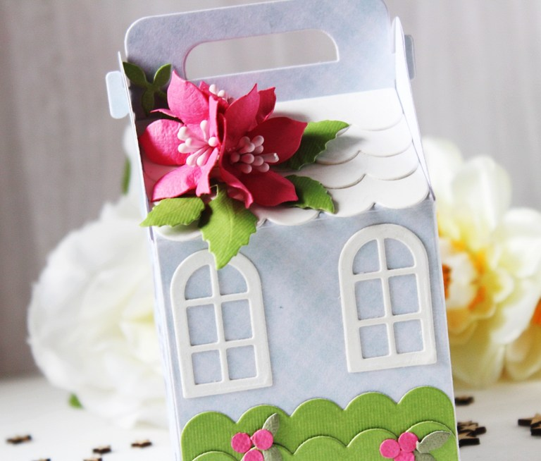 Spellbinders A Charming Christmas Collection by Becca Feeken - Inspiration | Cottage Houses with Hussena featuring S4-960 Cinch and Go Poinsettia, S5-384 Charming Tag Pocket, S6-163 Cottage Box, SDS-164 Sentimental Christmas #spellbinders #neverstopmaking #diecutting
