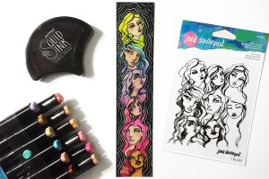Spellbinders Jane Davenport Artomology   Creating Quick and Colorful Bookmark with Kimball Davis featuring JDS-015 Girl Group, JD-037 Squid Ink Cave Black, JD-024 Smooth Markers - Feathered Friends, JD-025 - Sooth Markers - Mermesmerizing #janedavenport #janedavenportartomology #Artomology #spellbinders #neverstopmaking #smoothmarkers #makeitwithmichaels #bookmark #DIY