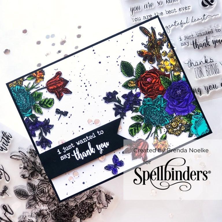 Spellbinders NEW Clear Stamps   Gratitude Card with Brenda Noelke #spellbinders #neverstopmaking