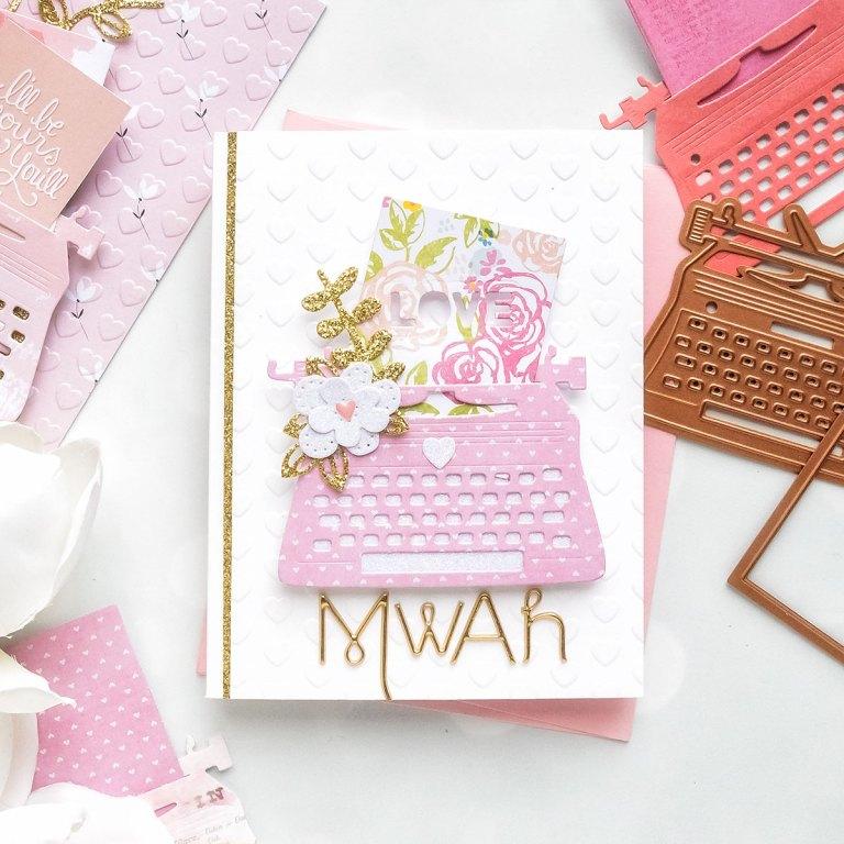 You're My Type - Spellbinders January 2019 Card Kit of the Month Typewriter Die Cards. MWAH Card by Yana Smakula for Spellbinders
