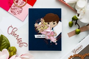 Spellbinders Love You Card using January 2019 Small, Large die of the Month and Glimmer Hot Foil Kit of the Month.
