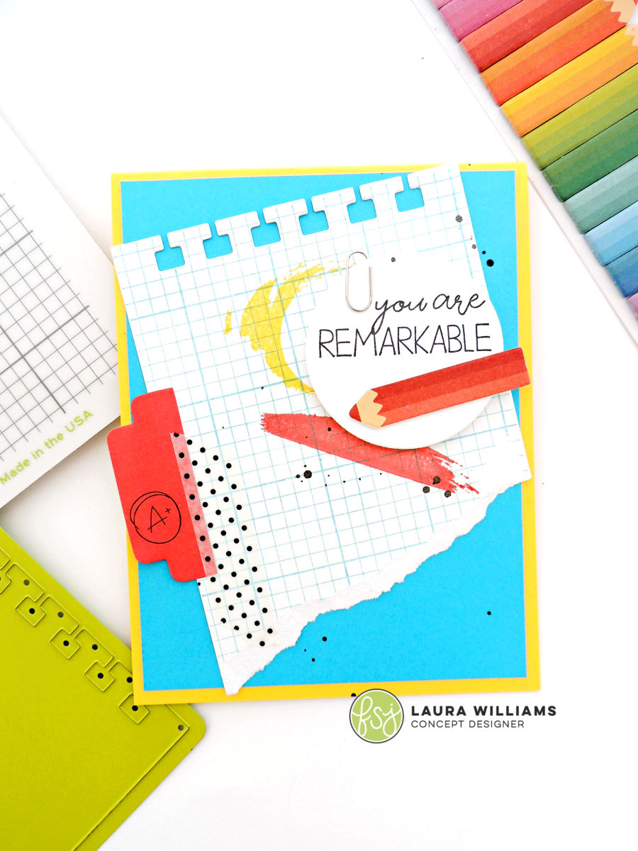 You are Remarkable handmade card idea, inspired by office supplies or school supplies - uses the Grid Paper  Different Strokes Stamp Sets from Fun Stampers Journey, as well as Rainbow Pencils Sticky Notes #funstampersjourney #handmadecards #rubberstamps #planneraddict