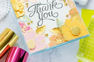 Spellbinders June 2019 Glimmer Hot Foil Kit of the Month is Here – Radiant Flowers. The Glimmer Hot Foil membership subscription includes an exclusive Glimmer Hot Foil Plate Set + One Roll of Foil.