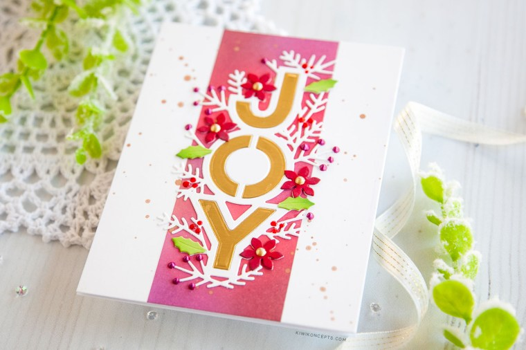 """Spellbinders Holiday 2019 Inspiration   Clean & Simple Christmas Cards with Keeway Tsao. Keeway says: """"My first card features the Joy Dies. This delicate die cuts out the world 'JOY' with a border decorated with several holiday floral and foliage shapes."""""""