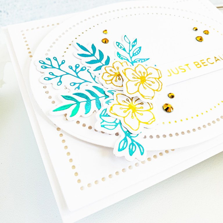 Spellbinders Modern Essentials Collection Inspiration | Clean & Simple Foiled Cards with Yasmin #Spellbinders #NeverStopMaking #GlimmerHotFoilSystem #HotFoiling