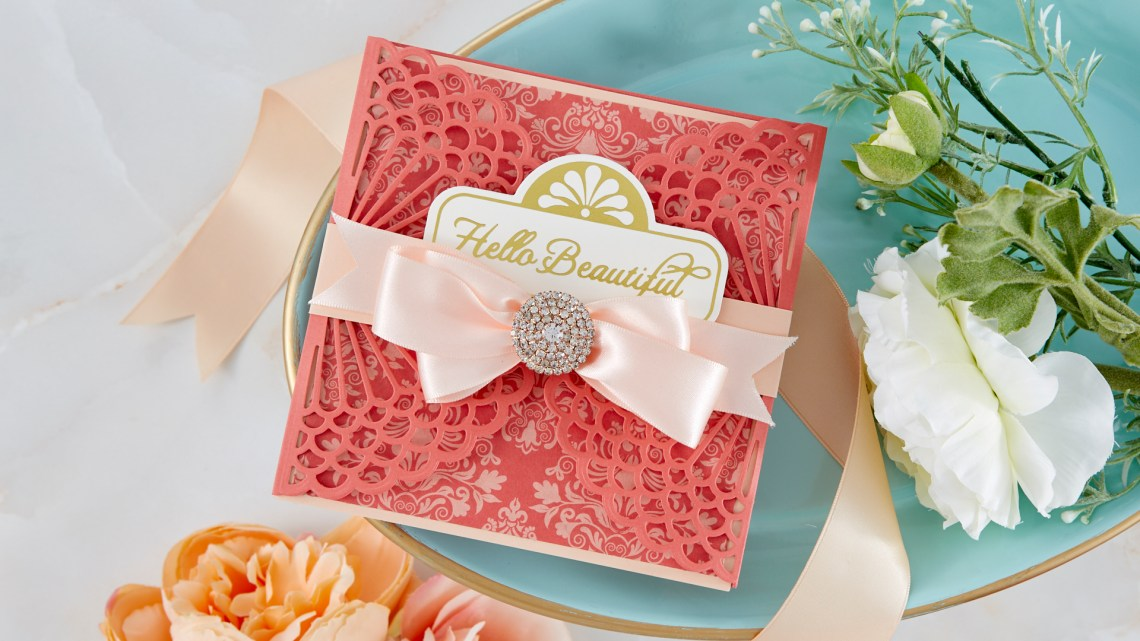Spellbinders Cardmaking Inspiration | Hello Beautiful Card Featuring Vintage Starburst Valance and Gatefold with Kim Kesti #Spellbinders #NeverStopMaking #GlimmerHotFoilSystem