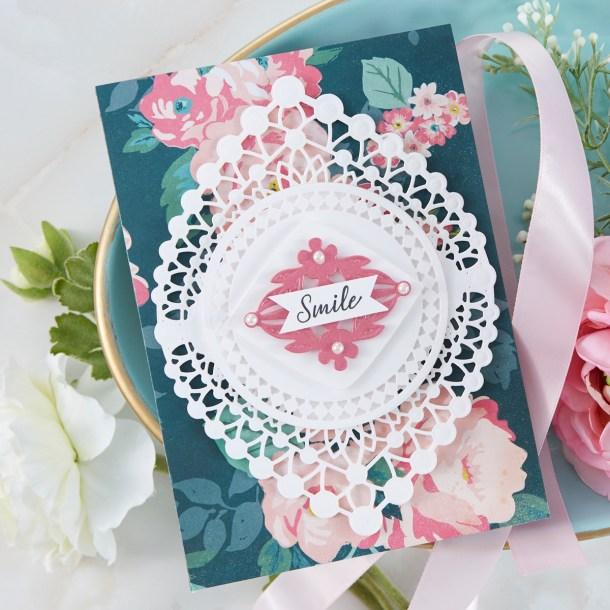 Spellbinders Cardmaking Inspiration | Smile Card Featuring Nobel Chatelaine with Kim Kesti #Spellbinders #NeverStopMaking