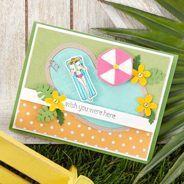 Wish You Were Here Card. Spellbinders / Fun Stampers Journey Happy Place Project Kit is Here! #Spellbinders #NeverStopMaking #Cardmaking