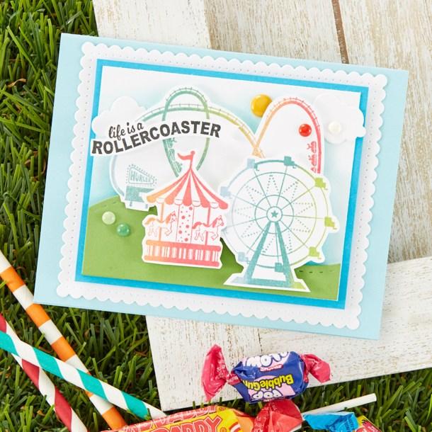 Life is a Rollercoaster Card. Spellbinders / Fun Stampers Journey Happy Place Project Kit is Here! #Spellbinders #NeverStopMaking #Cardmaking
