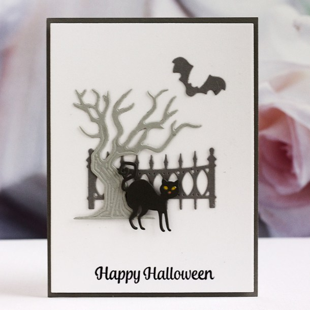 Spellbinders Halloween Collection by Becca Feeken – Project Inspiration with Karin Åkesdotter - Happy Halloween CAS Card #Spellbinders #NeverStopMaking #AmazingPaperGrace #DieCutting #Halloween