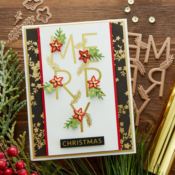 GLP-195 Merry Salutations: Mix foiled sentiments with die cut holiday floral trimmings with this set of 7 Glimmer plates and 5 dies. With the shimmer of the foil and the dimension of the dies, the recipient will place this card front and center on their mantel. What's New | Spellbinders Sparkling Christmas Collection #Spellbinders #NeverStopMaking #DieCutting #Cardmaking #GlimmerHotFoilSystem #Christmas
