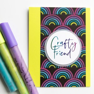 Two CAS cards showcasing the Jane Davenport Wonderland StoryTime Paint Pens
