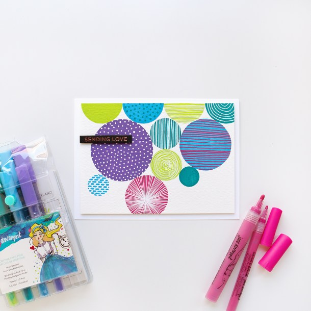 Abstract art card, featuring paint pens from Spellbinders & Jane Davenport