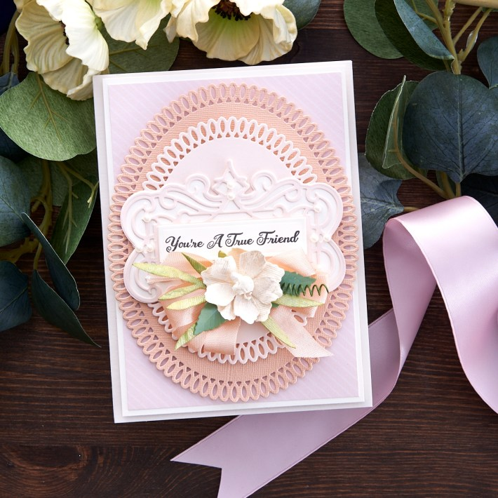 What's New at Spellbinders | Picot Petite Collection by Becca Feeken. S5-433 Picot Petite Ovals #Spellbinders #NeverStopMaking #AmazingPaperGrace #DieCutting #Cardmaking