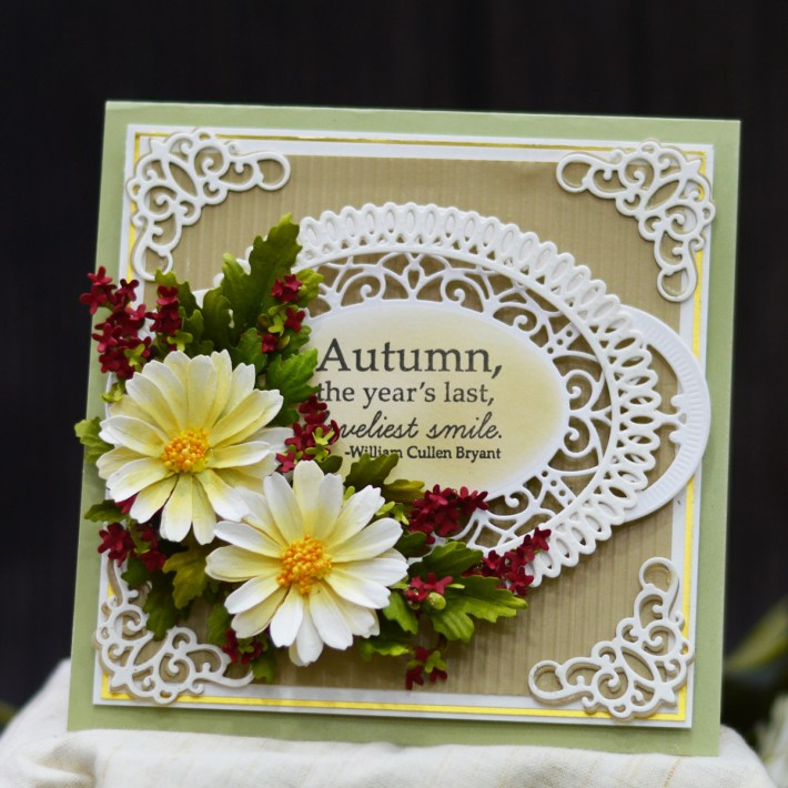 Susan's Autumn Flora Collection by by Susan Tierney-Cockburn. S4-1074 Button & Daisy Chrysanthemum Card #Spellbinders #NeverStopMaking #PaperFlowers #DieCutting #Cardmaking