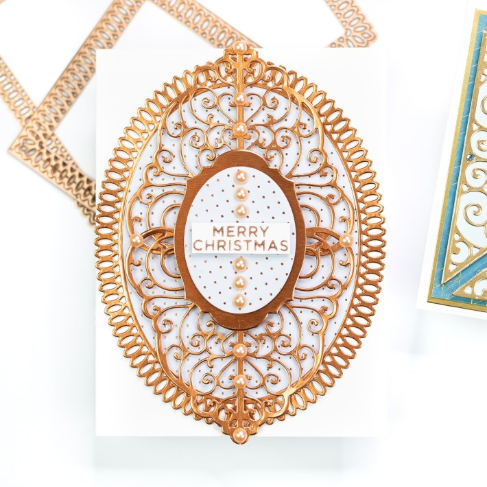 Spellbinders Becca Feeken Picot Petite Collection - Cardmaking Inspiration with Jenny Colacicco - Merry Christmas Card #Spellbinders #NeverStopMaking #AmazingPaperGrace #DieCutting #Cardmaking