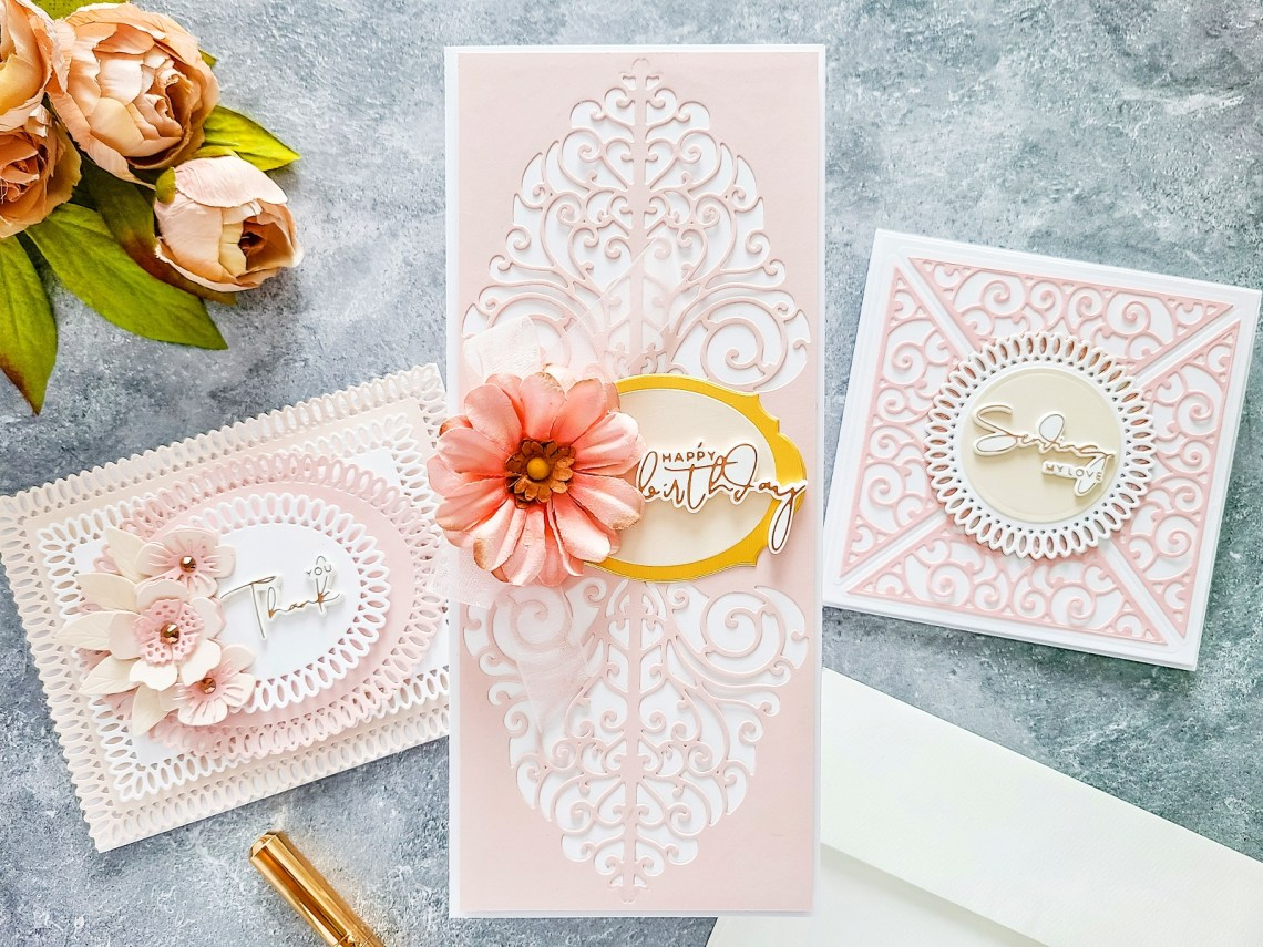 Spellbinders Becca Feeken Picot Petite Collection - Cardmaking Inspiration with Yasmin Diaz. Square Sending Love Card #Spellbinders #NeverStopMaking #AmazingPaperGrace #DieCutting #Cardmaking