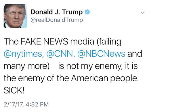 Trump Media Fake News Tweet