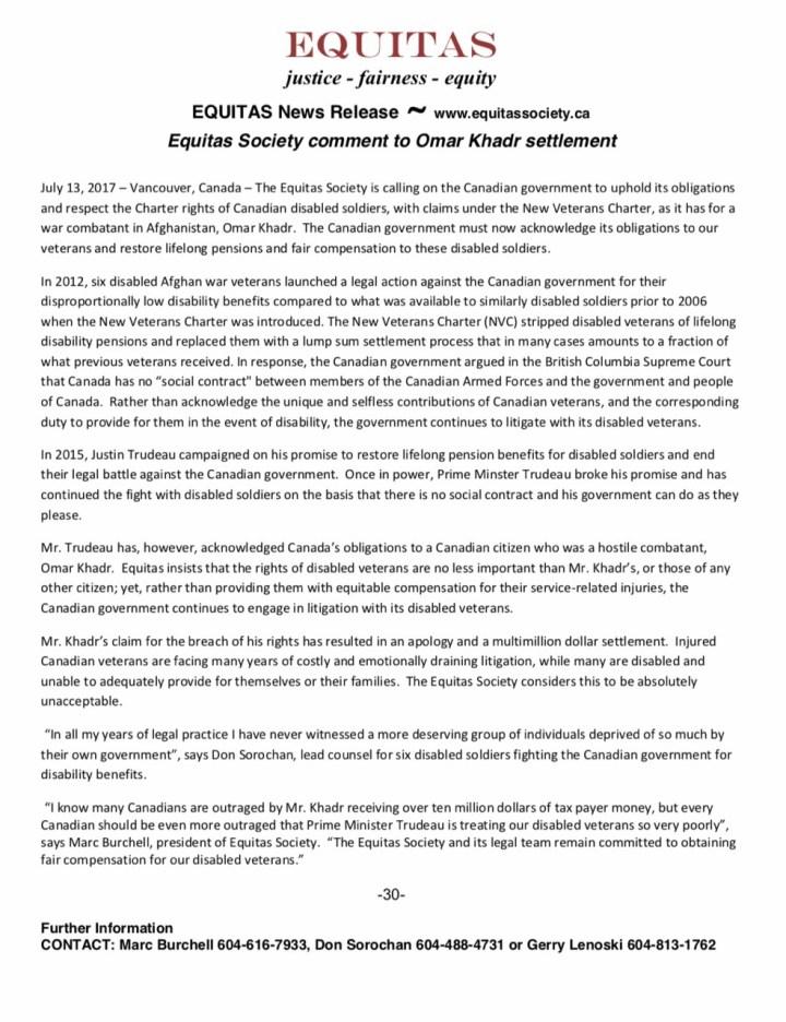 Equitas Society Omar Khadr Payment