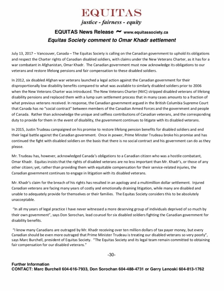 Equitas Society Omar Khadr Payment