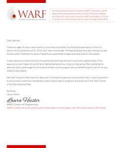 WARF letter of recommendation