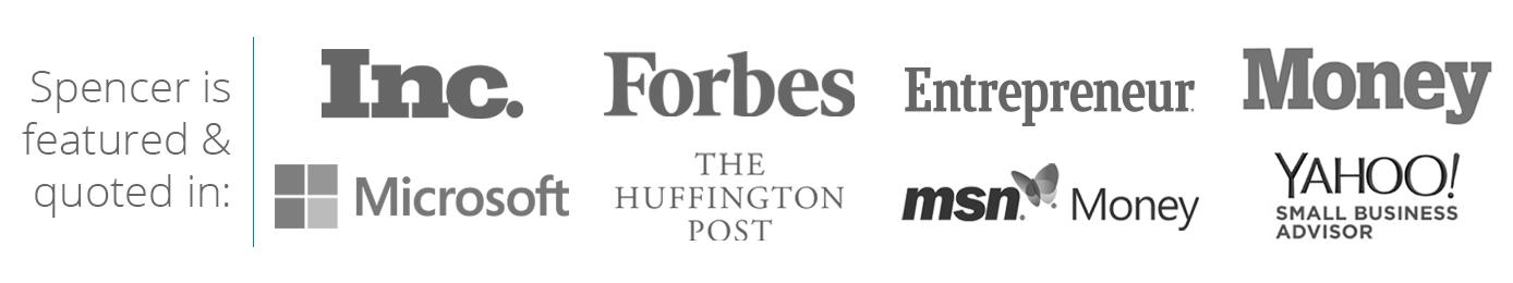 SpencerXSmith Publicity Logos - Inc, Microsoft, Forbes, Entrepreneur, Money, Huffington Post, MSN Money, Yahoo!