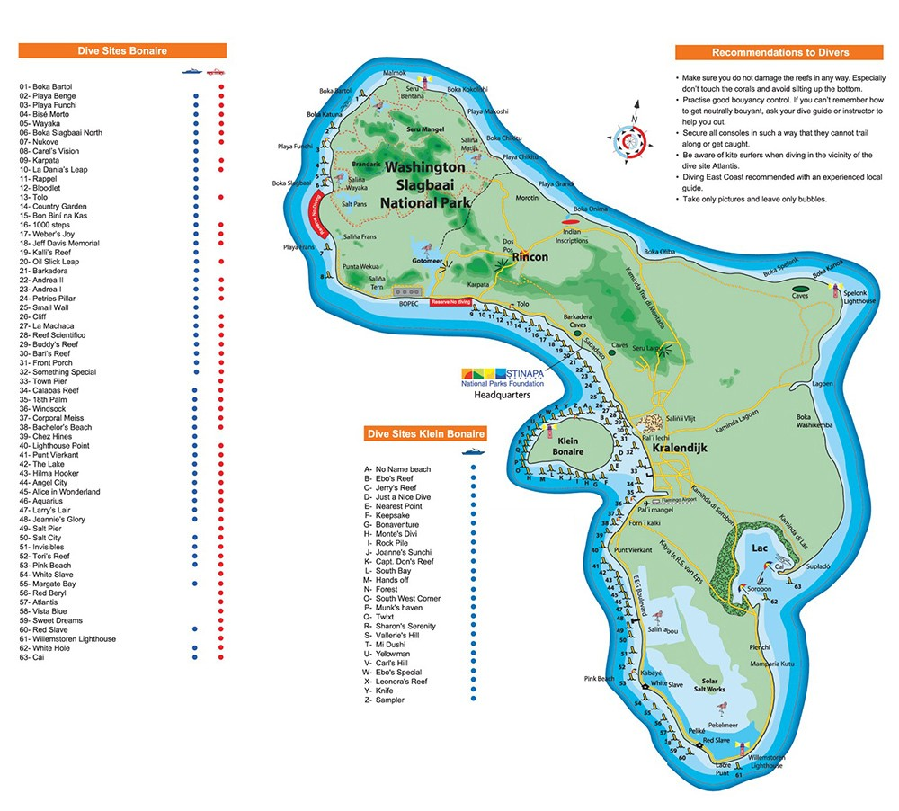 map of the dive sites in Bonaire