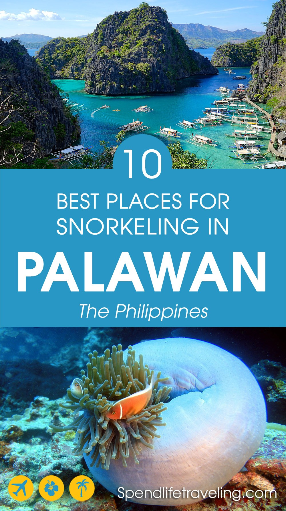 Are you traveling to the #Philippines? Then check out these 10 great #snorkeling spots! #Palawan #Coron #bestsnorkeling #travelPhilippines