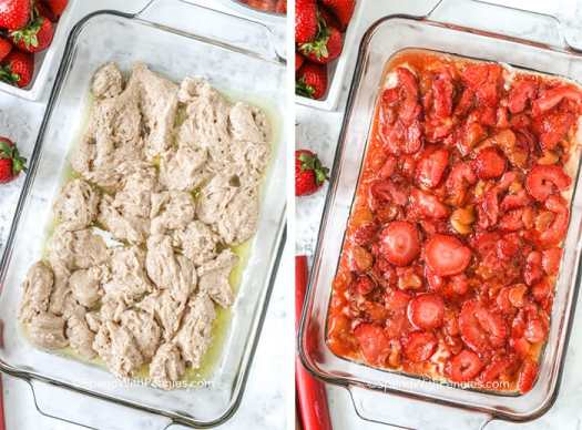 Two images showing the steps to prepare strawberry rhubarb cobbler.