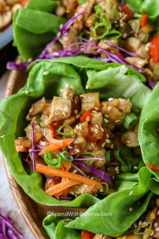 Lettuce wrap filled with chicken filling.