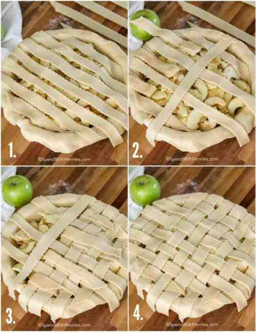 step by step photos of making a lattice crust
