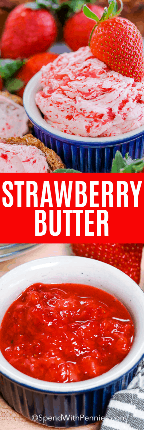 To make strawberry butter has never been easier. With just 3 ingredients - butter, strawberries, and powdered sugar - it is an easy spread to make any time of year. Served as a dipped dessert, or breakfast topping, this whipped butter #spendwithpennies #whippedstrawberrybutter #breakfast #dips #kidfriendly