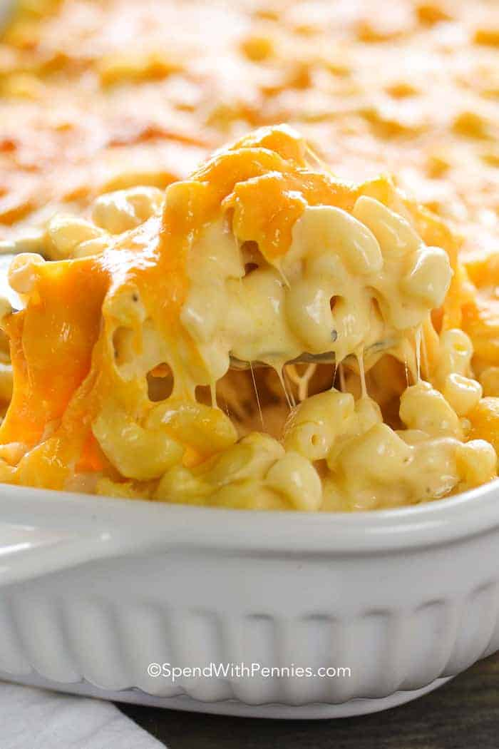 Macaroni and Cheese Casserole scooped with a spoon