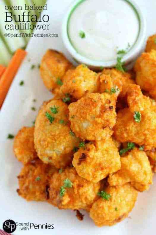 Oven Baked Buffalo Cauliflower bites with ranch dip