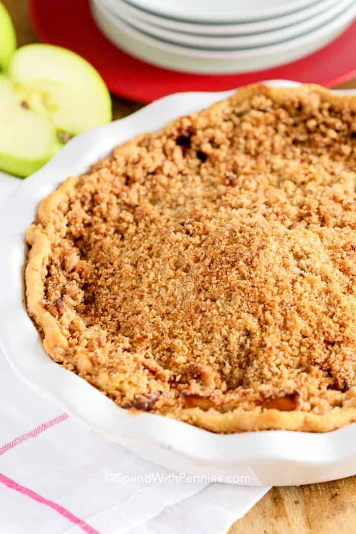 Apple Crumble Pie in a pie dish