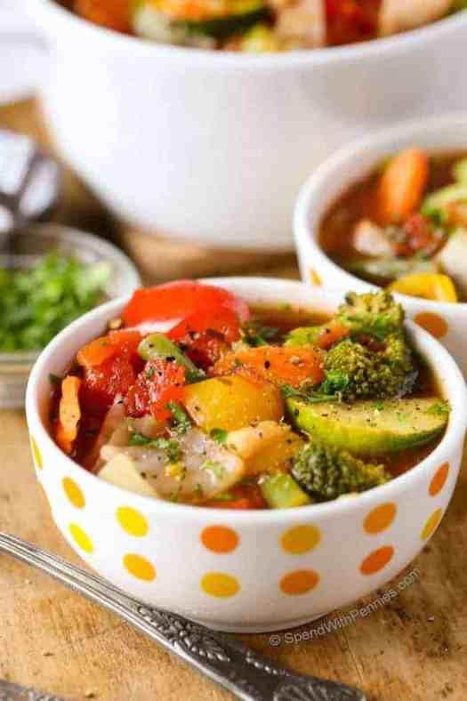 Close up on veggie soup bowl