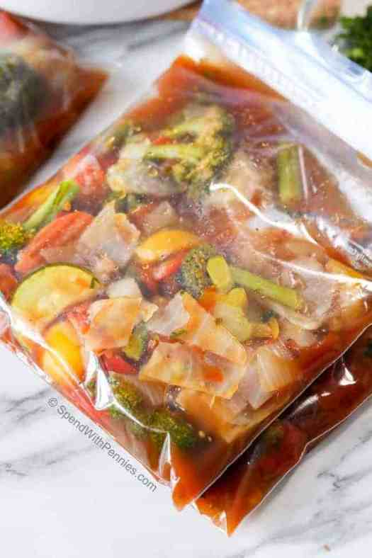Vegetable soup in ziploc bags