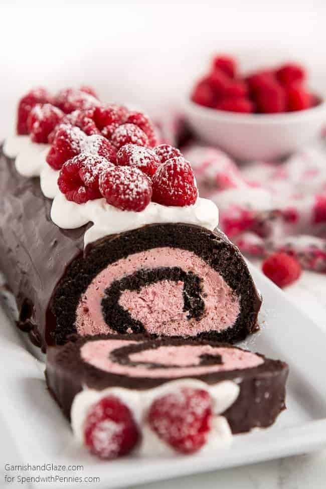 Raspberry Chocolate Swiss Roll Cake