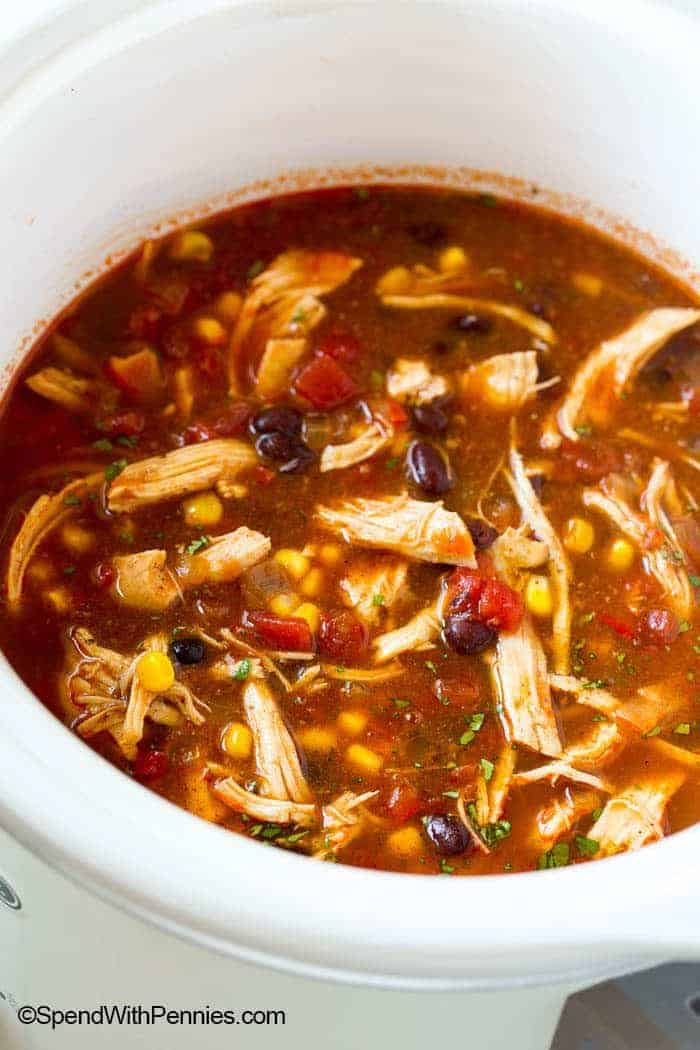Hearty Slow Cooker Chicken Enchilada Soup Spend With Pennies