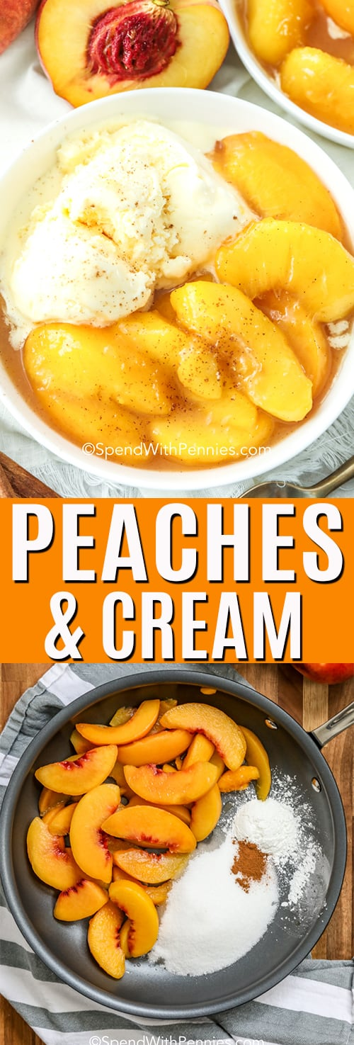 Top photo shows peaches in a white bowl with cinnamon sprinkle and ice cream. Bottom photo shows peaches in a pan ready to be prepared