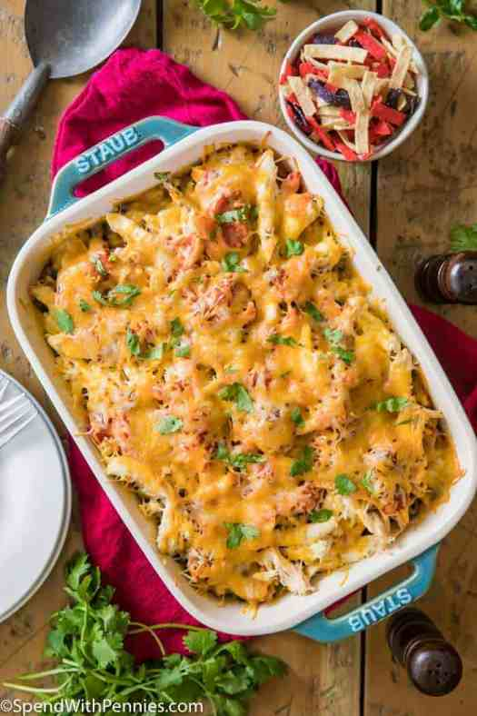 Chicken rice casserole topped with hot and bubbly cheese fresh from the oven.