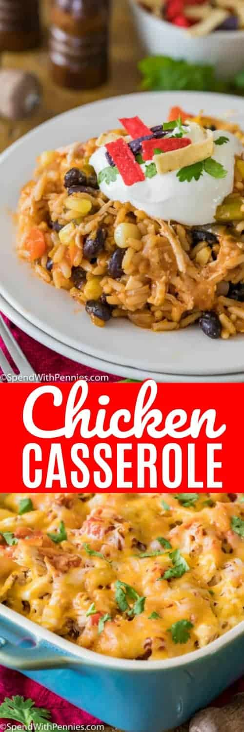 Salsa Chicken Casserole is an easy, fun, and festive dinner option that is both healthy and easy! #spendwithpennies #chicken #chickencasserole #chickenandrice #rice #casserole