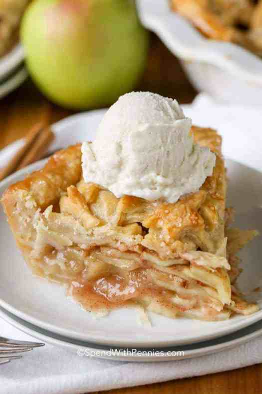 apple pie a la mode on a plate