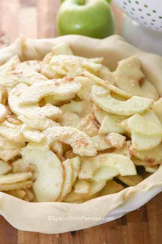 Apples in a pie crust ready to bake