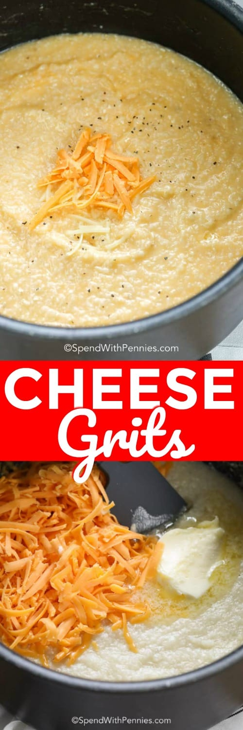We love these Cheese Grits served alongside grilled shrimp or chicken. Shredded cheddar and butter are stirred into smooth creamy grits making a delicious side dish. #spendwithpennies #cheesegrits #grits #creamygrits #sidedish #easyrecipe #easysidedish
