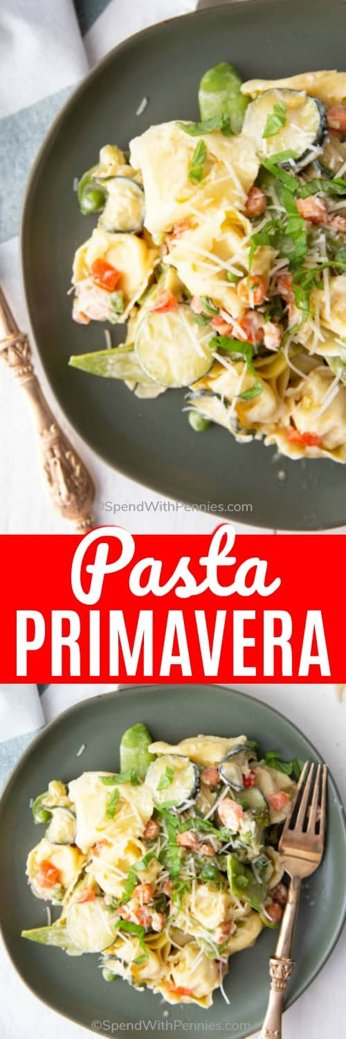 This pasta primavera is a delicious and simple one skillet dish that combines cheese tortellini, a rainbow of veggies and a delicious parmesan sauce. #spendwithpennies #pastaprimavera #easyrecipe #easypastarecipe #pasta #cheesetortellini #onepanmeal #easyskilletrecipe #withveggies